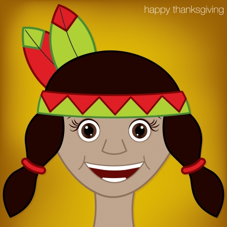 Thanksgiving American Indian card in vector format  Vector