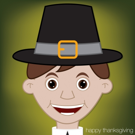 Thanksgiving Pilgrim card in vector format  Stock Vector - 23161190