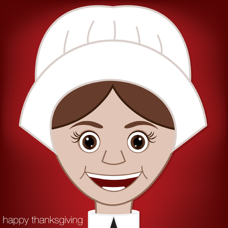 Thanksgiving Pilgrim card in vector format  Vector
