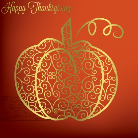 Filigree pumpkin Thanksgiving card in vector format  Çizim