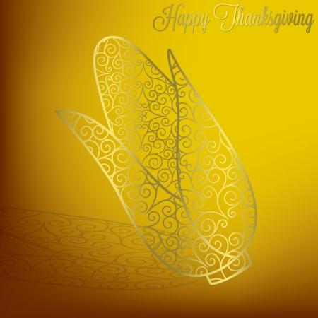 Filigree corn Thanksgiving card in vector format  Vector