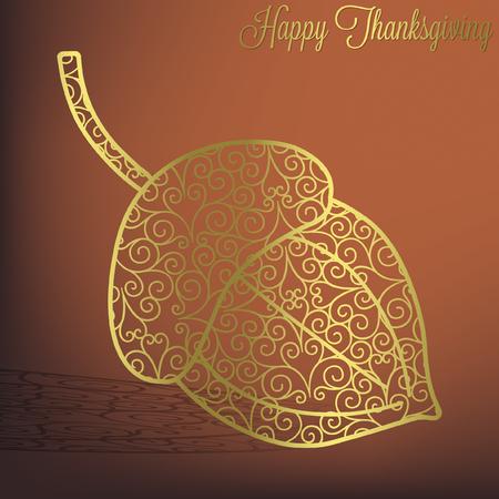 Filigree acorn Thanksgiving card in vector format  Vector