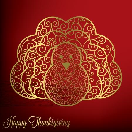Filigree turkey Thanksgiving card in vector format
