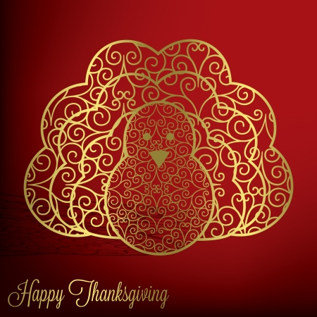 Filigree turkey Thanksgiving card in vector format