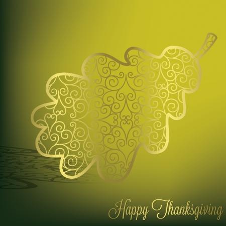 Filigree acorn leaf Thanksgiving card in vector format  Vector