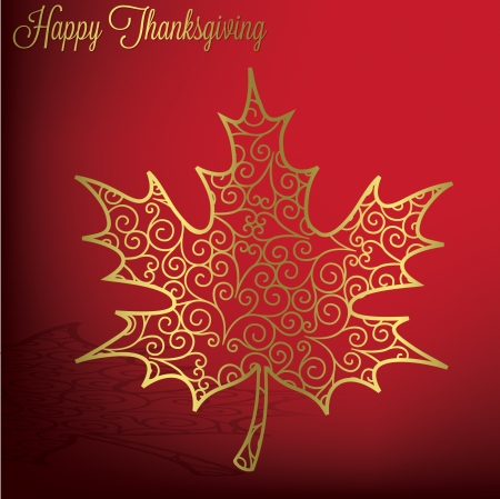 happy feast: Filigree maple leaf Thanksgiving card in vector format  Illustration