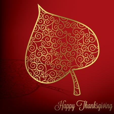 Filigree leaf Thanksgiving card in vector format  Vector