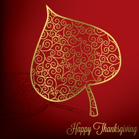 filagree: Filigree leaf Thanksgiving card in vector format  Illustration