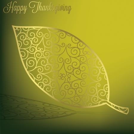 filagree: Filigree leaf Thanksgiving card in vector format  Illustration