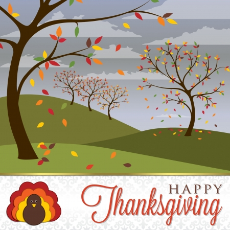 happy feast: Thanksgiving scene card in vector format