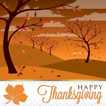 Thanksgiving scene card in vector format