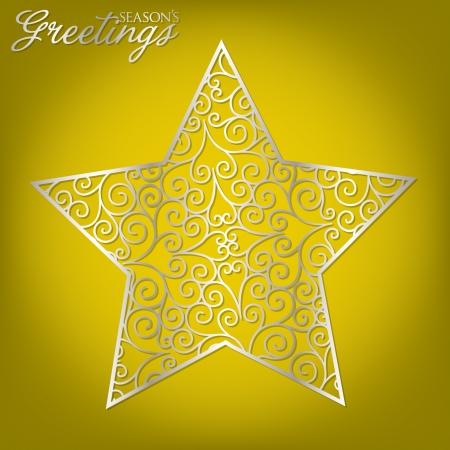 Elegant filigree Christmas card in vector format  Vector