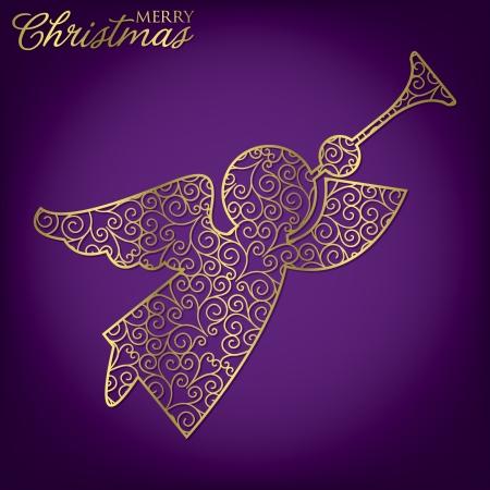 Elegante filigrane Weihnachtskarte im Vektorformat Standard-Bild - 23641959