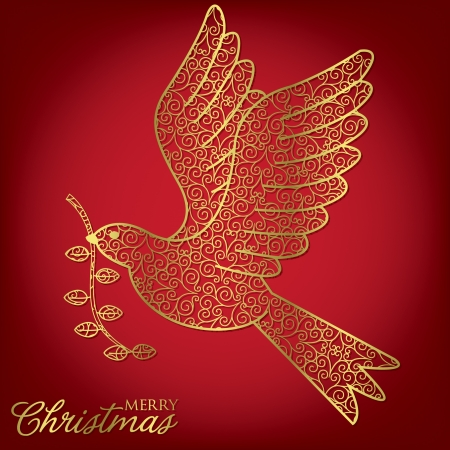 dove of peace: Elegant filigree Christmas card in vector format  Illustration
