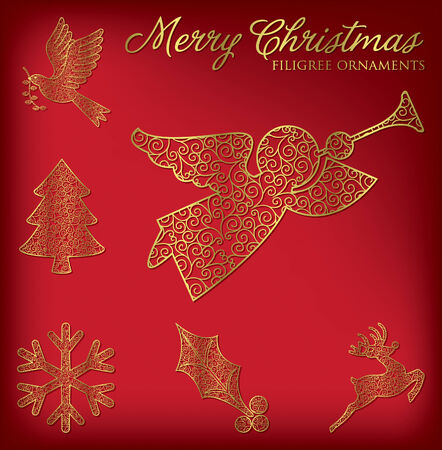 Elegant Christmas decoration set in vector format  Vector