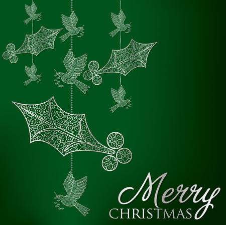 Elegant filigree Christmas card  Vector