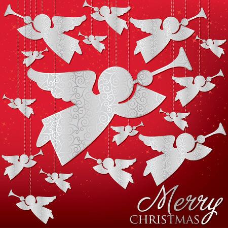 angel tree: Elegant hanging ornament card  Illustration