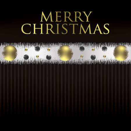 Bauble and tinsel garland Christmas card in vector format  Vector