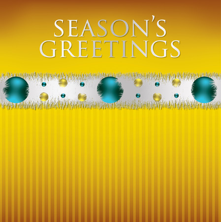 tinsel: Bauble and tinsel garland Christmas card in vector format  Illustration