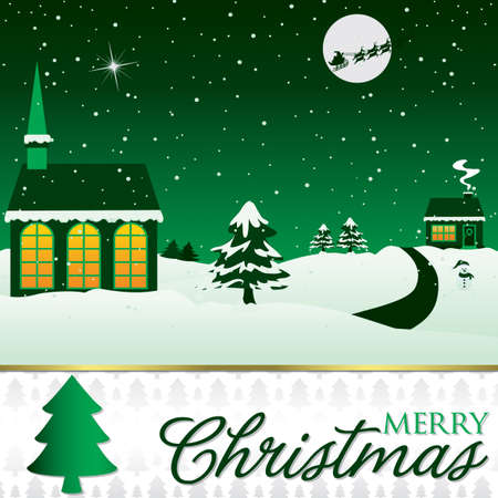 Winter Christmas scene card in vector format  Vector