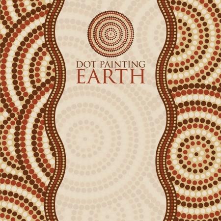 australian outback: Pintura Dot invita a la tarjeta de felicitaci�n en formato vectorial
