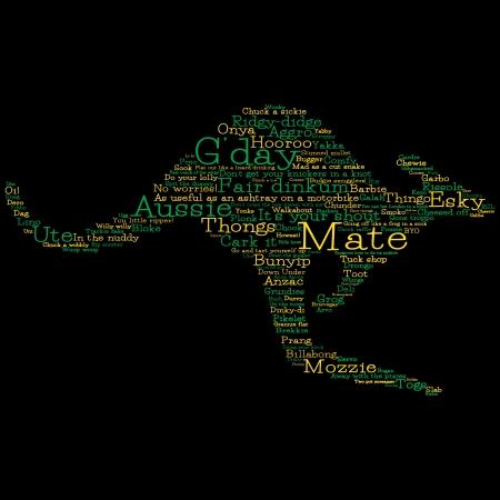 Kangaroo made from Australian slang words in vector format Stock Vector - 25118550