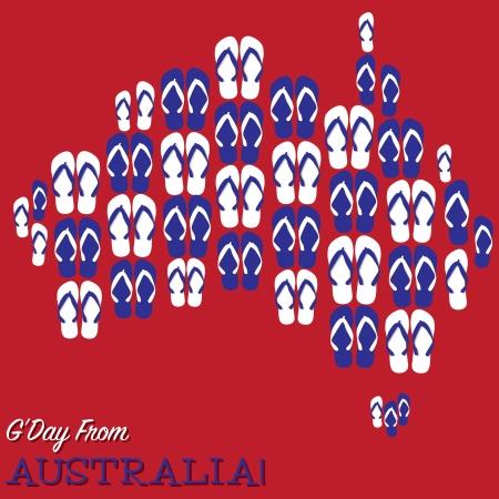 Australian map made of thongs  flip flops  in vector format Stock Vector - 25118553
