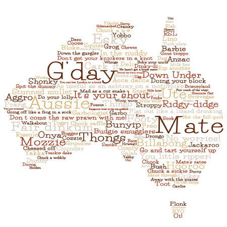 outback australia: Australia map made from Australian slang words in vector format