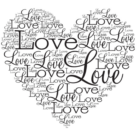 Heart made from words in vector format