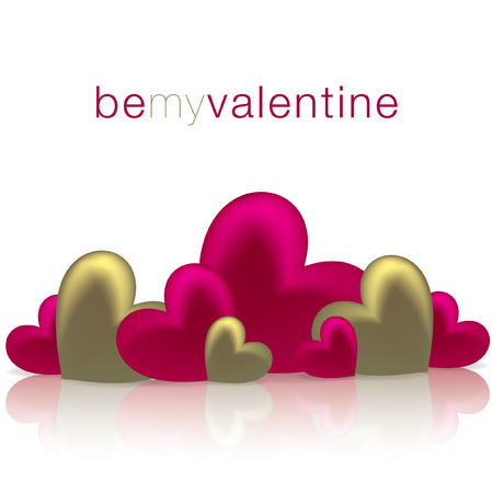 Hearts on a shiny surface Valentine s Day card in vector format