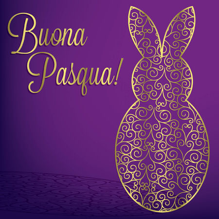 pasqua: Filigree bunny  Happy Easter  card in vector format Illustration