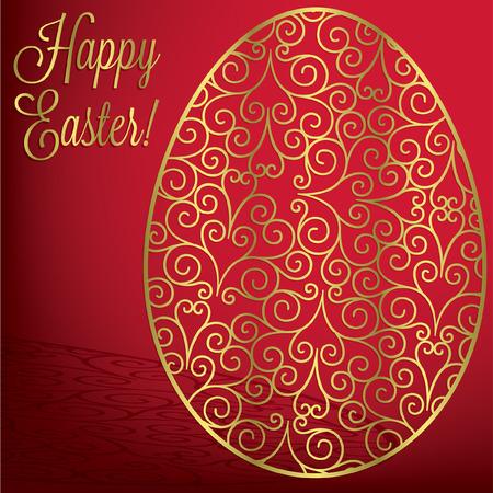 Filigree egg  Happy Easter  card in vector format Vector