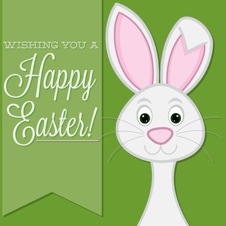 bunny rabbit:  Wishing you a Happy Easter  retro style bunny card in vector format