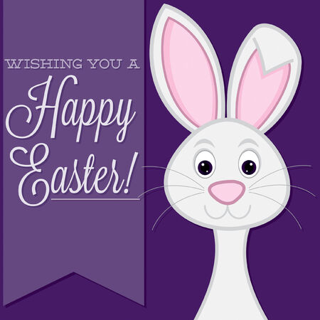 observance:  Wishing you a Happy Easter  retro style bunny card in vector format