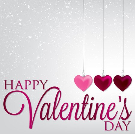 Hanging ornaments Valentine s Day card in vector format  Vector
