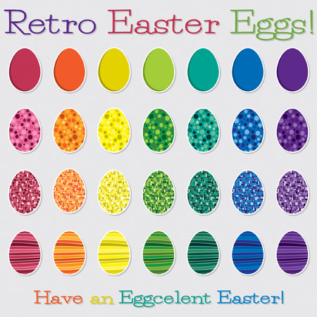observance: Bright retro Happy Easter egg set in vector format