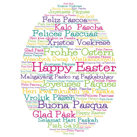 Easter egg made from  Happy Easter  in 12 different languages
