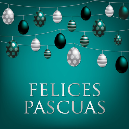 christian festival: String of Easter eggs card in Spanish in vector format