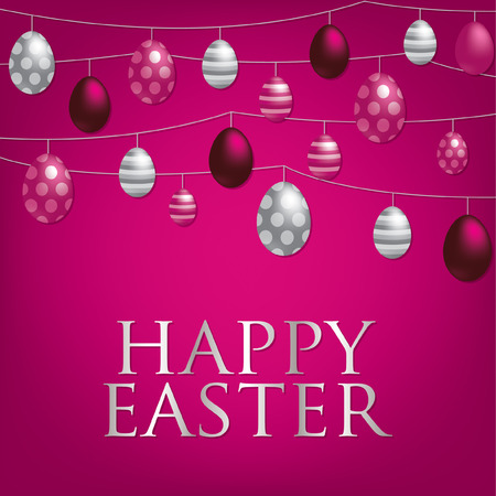 String of Easter eggs card in Spanish in vector format  Vector