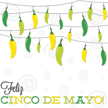 Feliz Cinco de Mayo   Happy 5th of May  strings of peppers in vector format  Vector