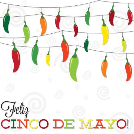 Feliz Cinco de Mayo在Vector格式的辣椒串的快乐5日