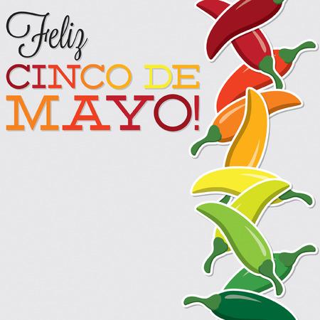 Vektör formatında Cinco De Mayo biber kart Çizim