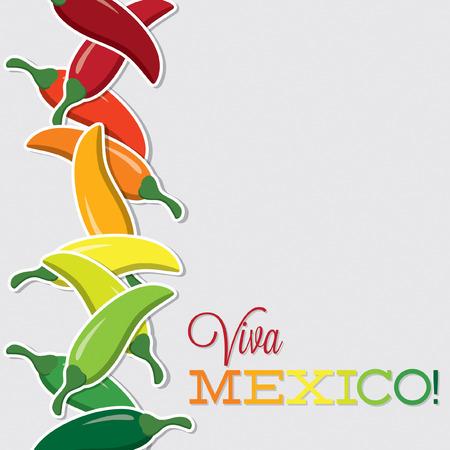 Viva Mexico chilli card in vector format  Vector