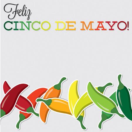 fiesta: Cinco De Mayo chilli card in vector format