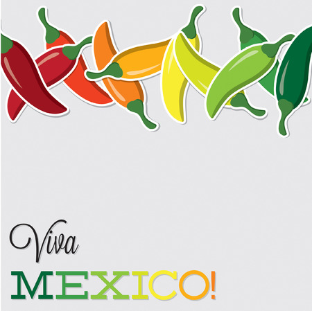 Viva Mexico chilli card in vector format  Vector