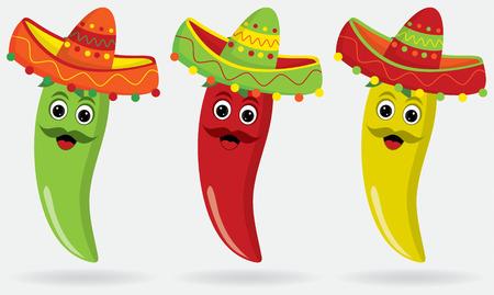 ispanico: Jalapenos messicani in sombreri