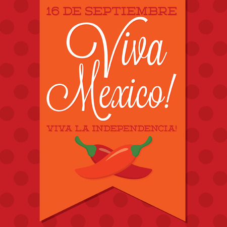 chilli: Retro style Viva Mexico  Mexican Independence Day  card in vector format