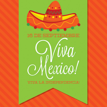 Retro style Viva Mexico  Mexican Independence Day  card in vector format