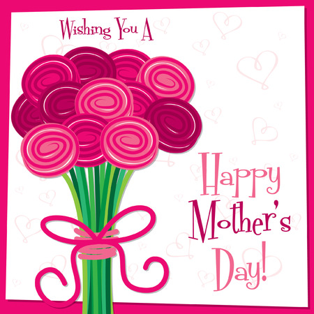 Happy Mother s Day bright rose card in vector format