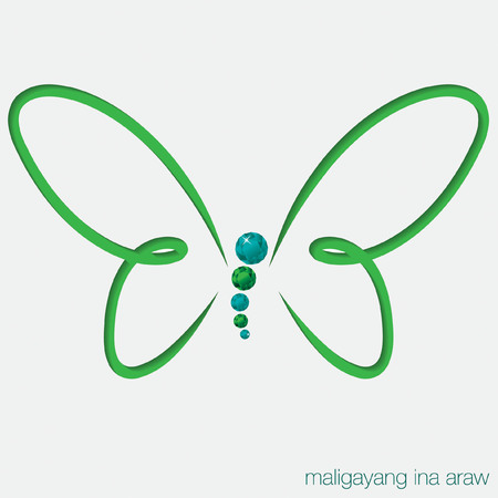 filipino: Cut out butterfly card with gems in vector format
